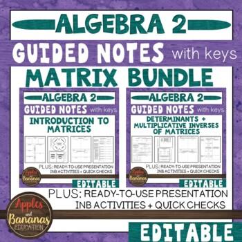 Matrix (Matrices) Unit: Math Journal Activities w/ Keys