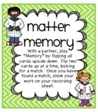 Matter Vocabulary Match-Up Game with Recording Sheet
