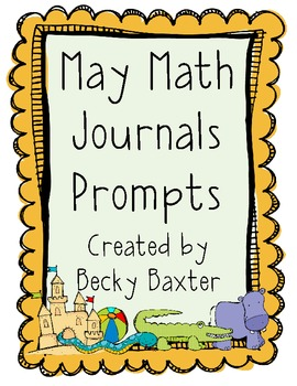 May Math Journal Prompts (kindergarten)