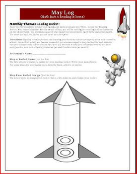 May Reading and Math Log: Theme is Reading Rocket