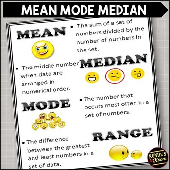 Mean, Mode, Median, and Range - Poster and Assignments
