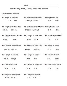 Measurement Estimation Inch, Feet, Yards, Miles Worksheet