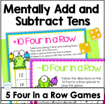 Mentally Adding & Subtracting 10 ~ Four in a Row Games