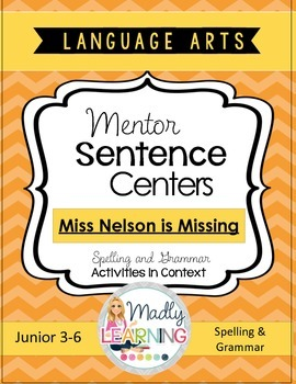 Language Arts - Mentor Text Word Work Centers Shortcut Image Miss Nelson is Missing
