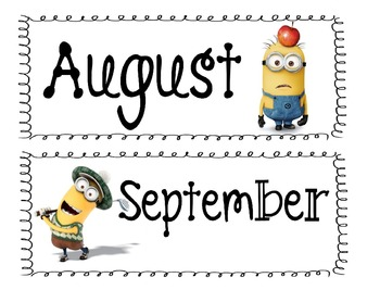Minion 'Inspired' Classroom Calendar