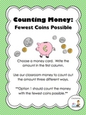 Counting Money Center:  Equivalent Amounts-Fewest Coins Possible