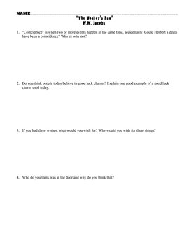 Monkeys Paw Questions, Literary Elements, Activity