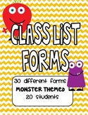 Monster Themed Class Lists for 20 Students