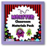 Monster Themed Classroom Materials Pack (Editable Material