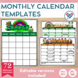 Monthly Calendar Templates EDITABLE