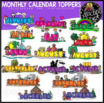 Monthly Calendar Toppers Clip Art Bundle