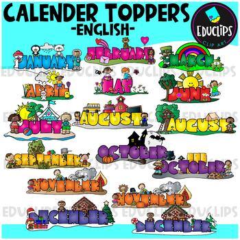 Monthly Calendar Toppers Clip Art Bundle