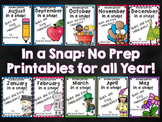 Monthly IN A SNAP  No PREP Printables Bundle for Math and