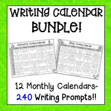 Monthly Writing Calendar Packs BUNDLE-  240 Writing Prompt