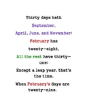Months of the Year--Days in a Month