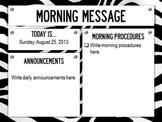 Morning Message PowerPoint Slides - Zebra Print Theme - (a