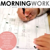 Morning Work - Morning Wake Up 1st Grade Common Core ELA and Math