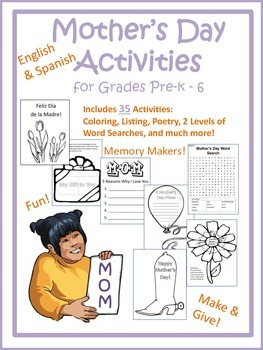 Mother's Day Activities for Elementary Grades (English & Spanish)