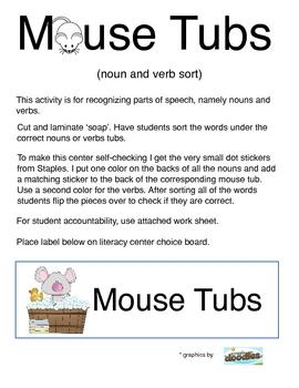 Mouse Tubs -- Noun and Verb Literacy Center