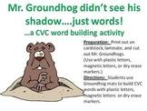 Mr. Groundhog sees words not shadows....A CVC Word Buildin