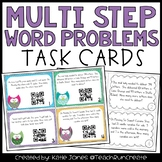 Multi Step Word Problem Task Cards with QR codes {Common C