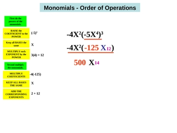 Multi- step monomial operations PowerPoint