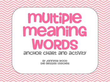 Multiple Meaning Words- Activity