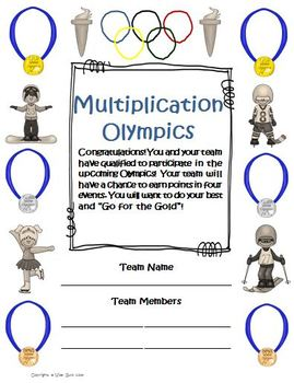 Multiplication Math Olympics Game and Activities