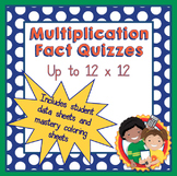 Multiplication Quizzes and Data Sheet for facts up to 12x12