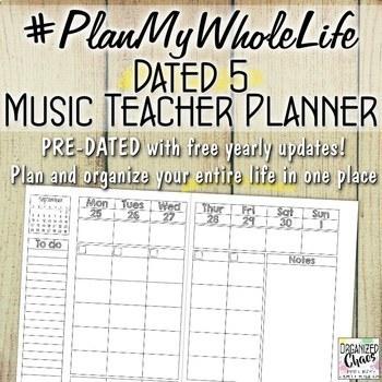 Music Teacher Entire Life Planner and Organization Binder: