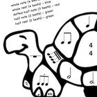 Musical Turtles Color Sheets -Basic Rhythm Notation