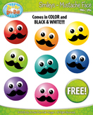 FREE Mustache Face Smiley Faces Emotions Clip Art Graphics
