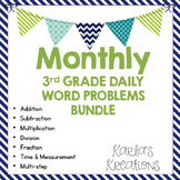 NO PREP 3rd Grade Daily Word Problems GROWING BUNDLE