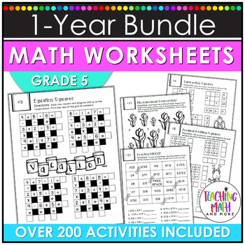 NO PREP Math Packets BUNDLE {5th Grade Collection}
