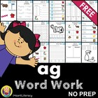 NO PREP Word Work: ag Word Family - Short A - FREE