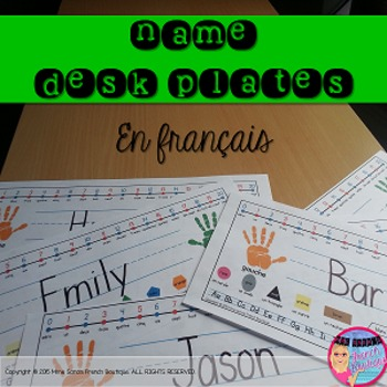 Name Plate for Students' Desks - French