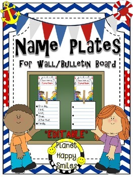 Name Plates for Student Work (EDITABLE) ~ Nautical