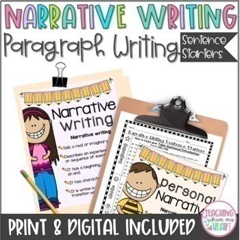 Narrative Writing Sentence Starters & Writing/Graphic Organizers CCSS Aligned