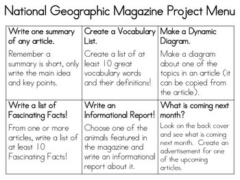 National Geographic Magazine Project Menu--FREE