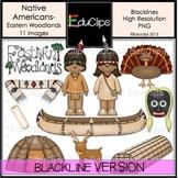Native Americans-Eastern Woodlands Clip Art BLACKLINES