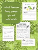 Natural Resources fluency passage, close reading, and pref