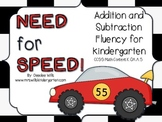 Math Facts - Need For Speed Kindergarten Addition and Subt