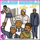 Nelson Mandela clip art - color and black line