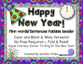 New Year Fill-in-the-Blank Foldable Emergent Reader! 2 Ver
