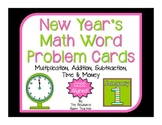 New Year's Themed Math Word Problem Cards (CCSS Aligned!)