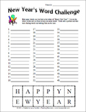 FREE New Year's Word Challenge