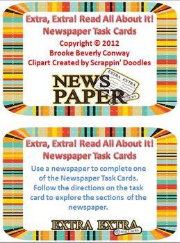 Newspaper Task Cards
