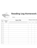 Nightly Reading Log for Early Readers