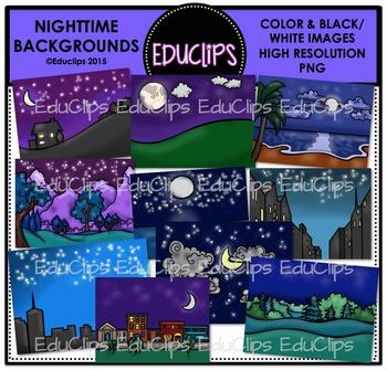 Nighttime Backgrounds Clip Art Bundle