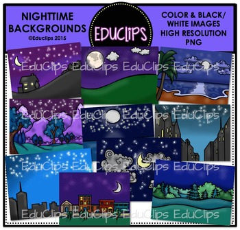 Nighttime Backgrounds Clip Art Bundle